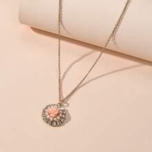 Rhinestone Flower Charm Necklace