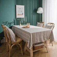 Rechteckige Tischdecke mit Quasten Dekor