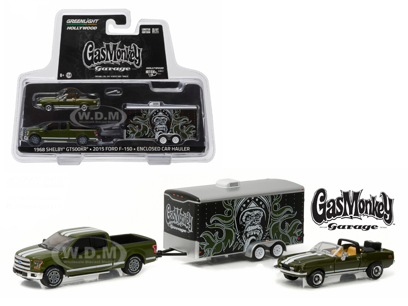2015 Ford F-150 Pickup Truck Green and 1968 Shelby GT500KR Convertible Green with Enclosed Car Hauler Gas Monkey Garage (2012) TV Series 1/64 Dieca
