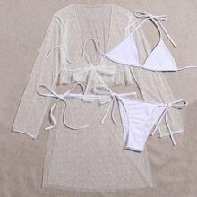 4pack Dobby Mesh Micro Triangle Halter Bikini Swimsuit