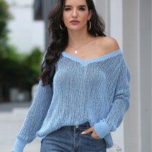 Ribbed Knit Raglan Sleeve Sweater