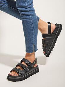 Buckle Decor Slingback Sandals