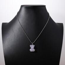 Halskette mit Acryl Baeren Dekor und Kette