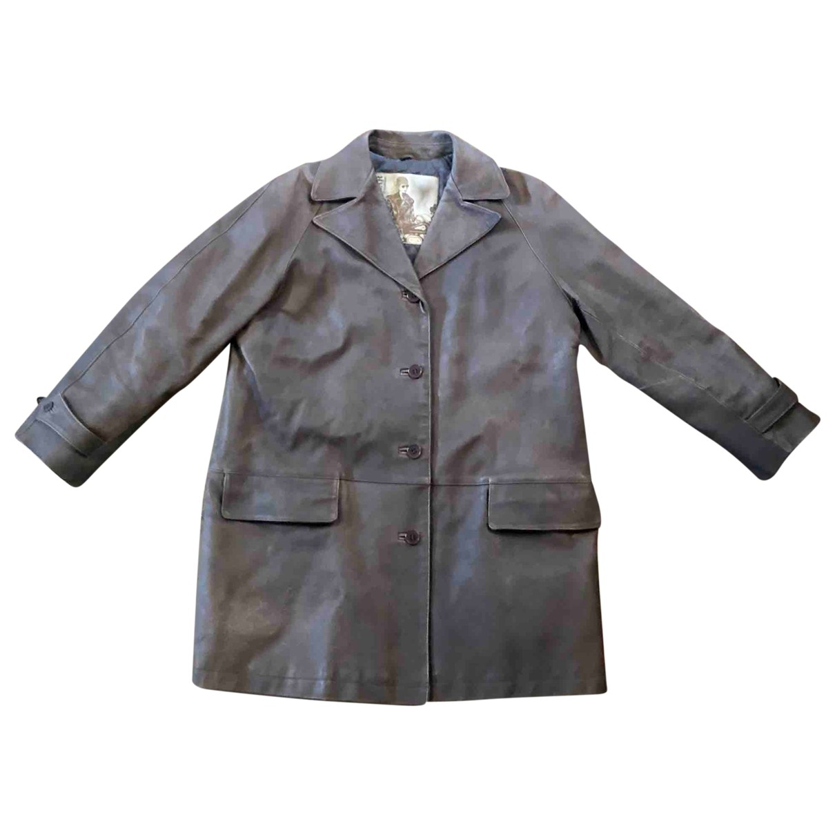 Non Signé / Unsigned \N Brown Leather coat for Women 44 IT