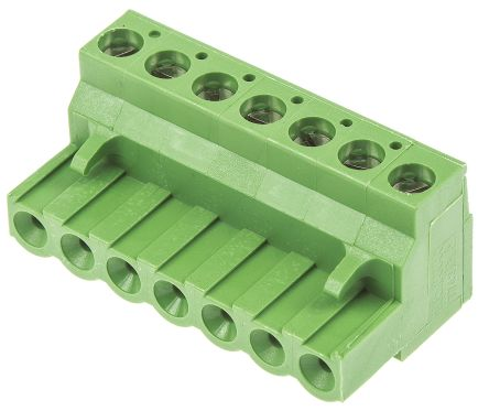TE Connectivity Non-Fused Terminal Block, 7 Way/Pole, Screw Down Terminals, 30 → 12 AWG Cable Mount, Nylon, 300 (5)