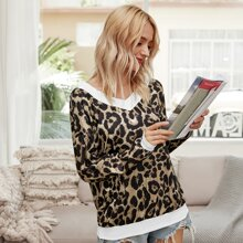 Sweatshirt mit Leopard Muster und V Kragen