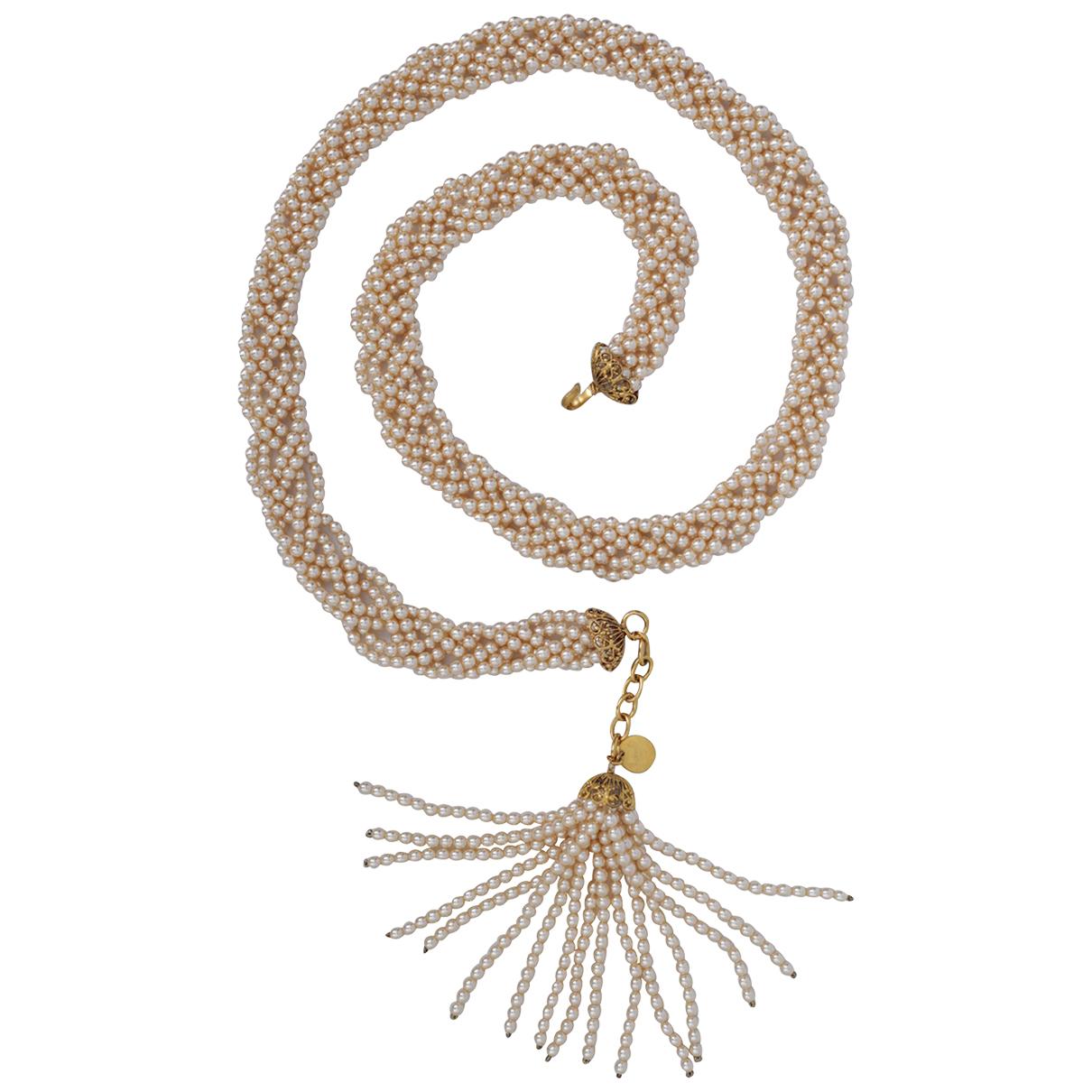 Chanel - Collier Baroque pour femme en perles - blanc