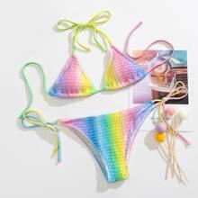Ombre Smocked Triangle Tie Side Bikini Swimsuit