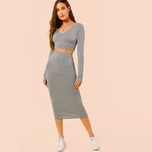 Fitted Solid Top & Pencil Skirt Set