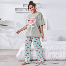 Conjunto de pijama camiseta con estampado de sandia y slogan con pantalones