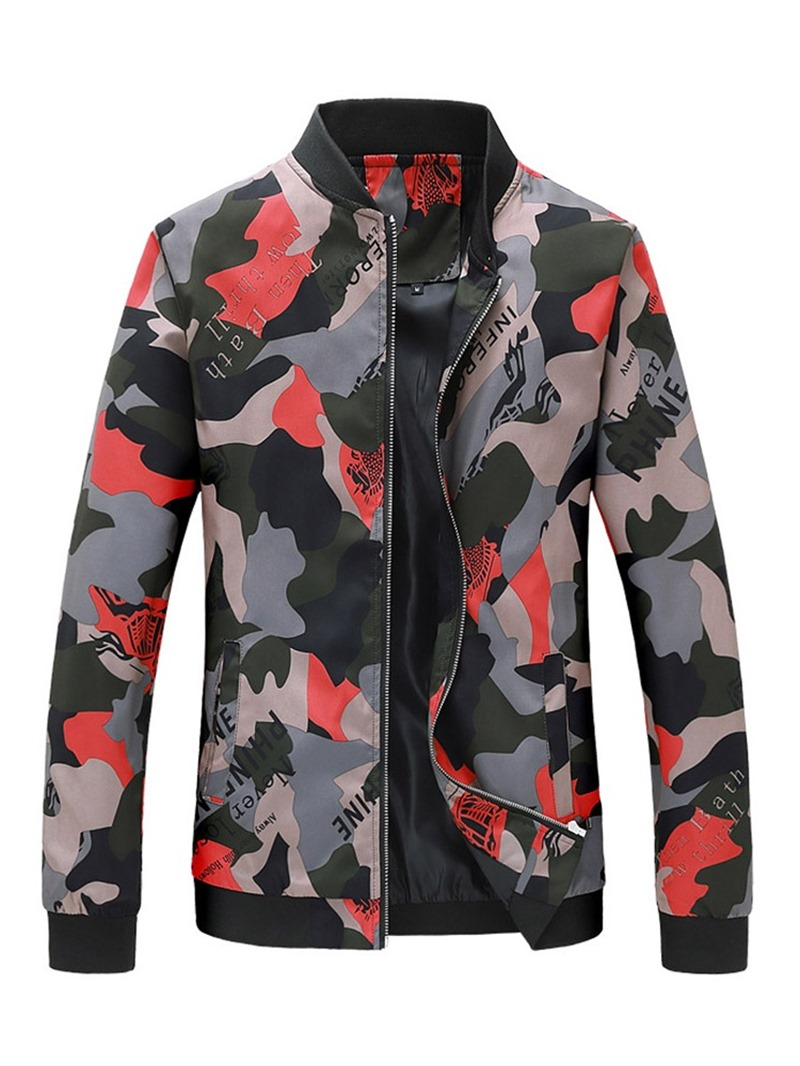 Ericdress Print Stand Collar Letter Mens Casual Jacket