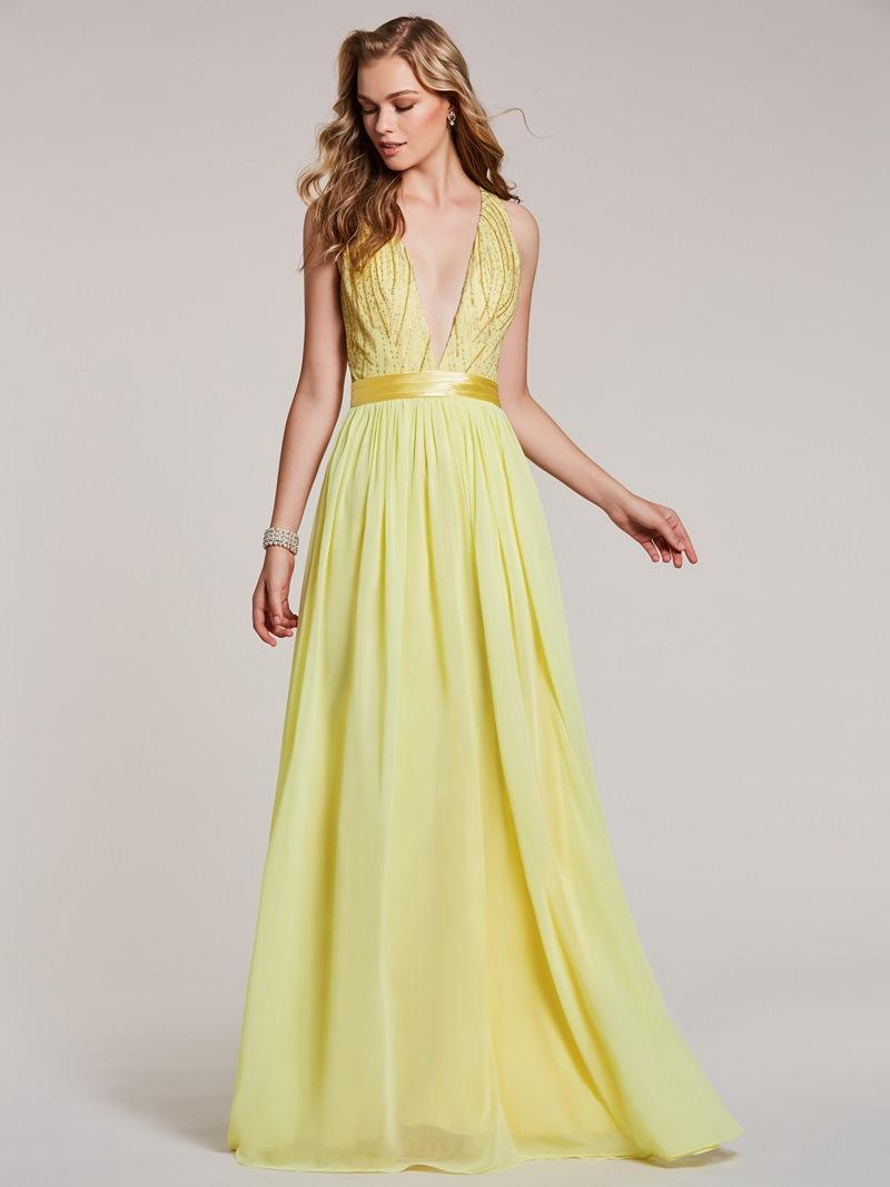 Ericdress V Neck Beaded A Line Long Prom Dress