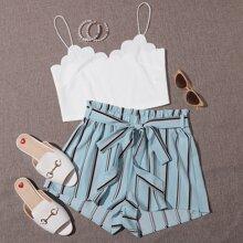 Crop Cami Top mit Bogenkante & Shorts Set mit Guertel und Streifen