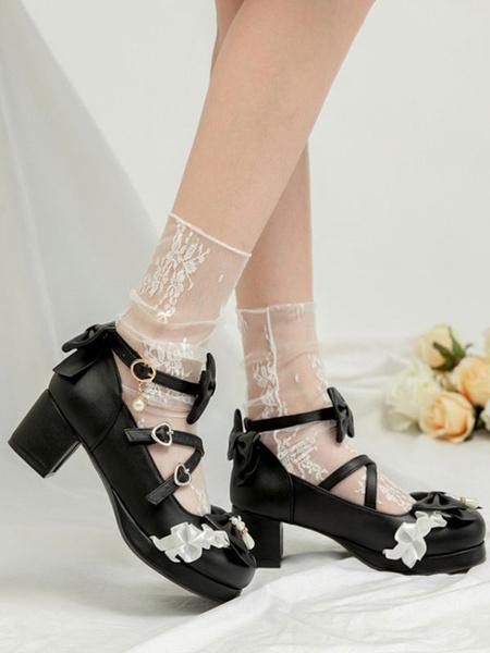 Milanoo Zapatos Sweet Lolita Lazos rosados Cuero PU Tacon grueso Rayas Zapatos Lolita