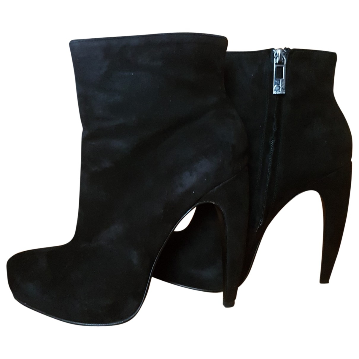Calvin Klein \N Black Suede Ankle boots for Women 38 EU