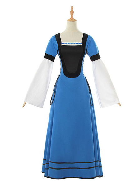 Milanoo Blue Retro Costumes Embroidered Lace Up Middle Ages Vinatge Long Sleeves Square Neckline Prom Dress Halloween