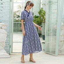 Blue And White Porcelain Print A-line Dress