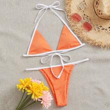 Rib Contrast Binding Triangle Thong Bikini Swimsuit
