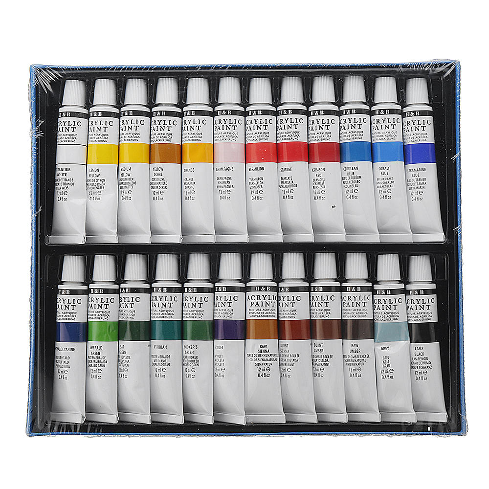 H&B HB-AP24 Professional 24-Color Propylene Pigment Hand-Painted Set Wall Painting DIY Watercolor Paint Set