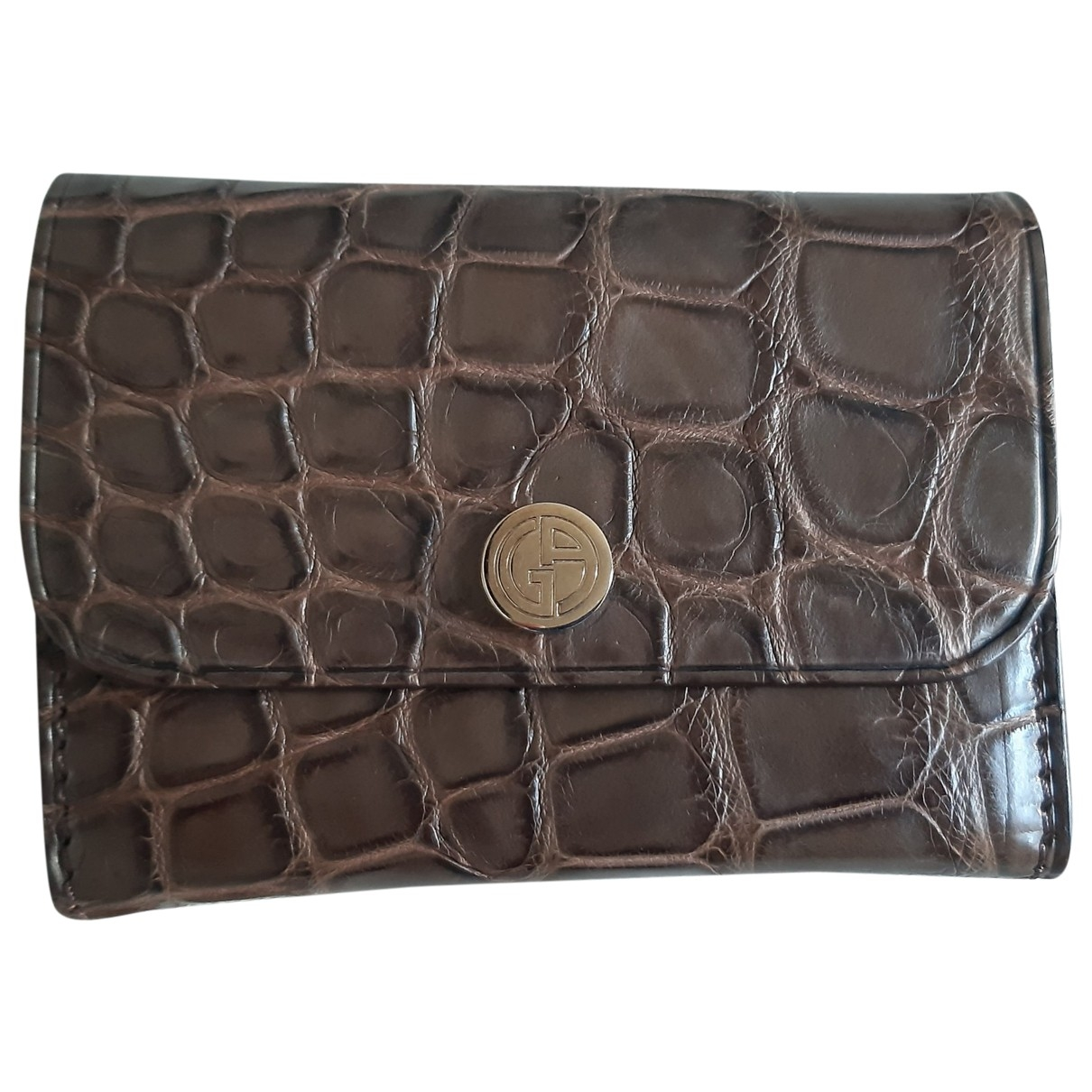 Giorgio Armani \N Brown Crocodile Small bag, wallet & cases for Men \N