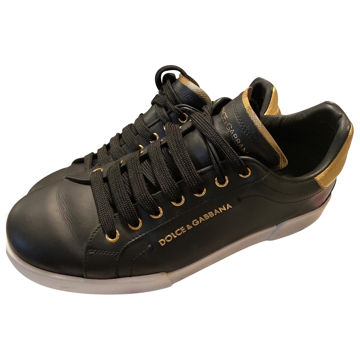 Dolce & Gabbana - Baskets Portofino pour homme en cuir - noir