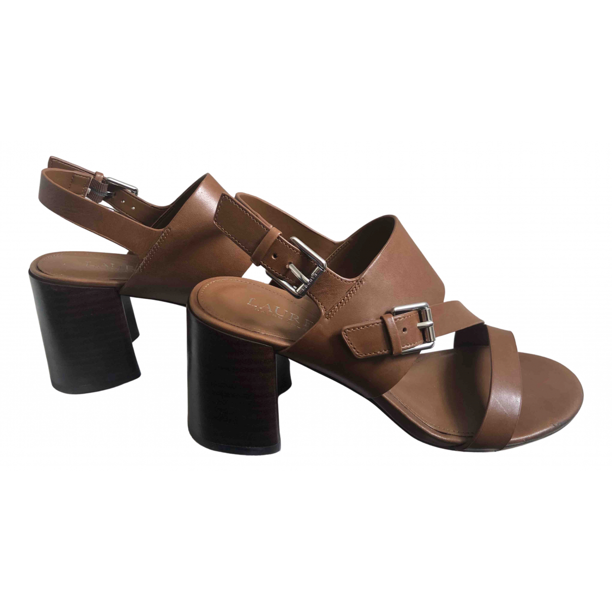 Lauren Ralph Lauren N Brown Leather Sandals for Women 7 US