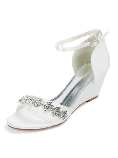 Milanoo Ivory Wedding Shoes Satin Rhinestones Open Toe Wedge Heel Bridal Shoes