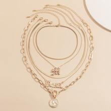 5pcs Letter Charm Necklace