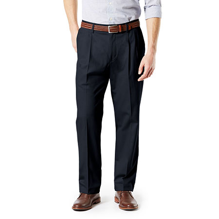 Dockers Big & Tall Classic Fit Signature Khaki Lux Cotton Stretch Pants - Pleated D3, 50 29, Blue