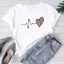 Plus Leopard And Heart Print Tee