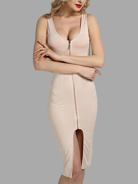 Yoins Apricot Fashion Round Neck Zip Front Bodycon Cami Dress