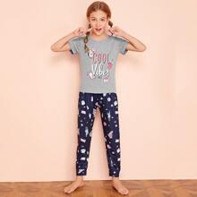 Conjunto de pijama de niñas con estampado de letra y dibujos animados