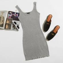 Notched Neck Rib-knit Lettuce Hem Bodycon Dress
