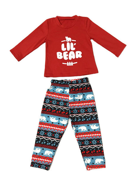 Milanoo Christmas Family Pajamas Matching Kids Red Printed Cotton Top And Pants 2 Piece Set For Children