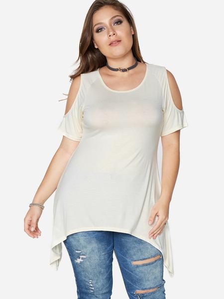 Yoins Plus Size Apricot Cold shoulder Plain Short Sleeves T-shirts