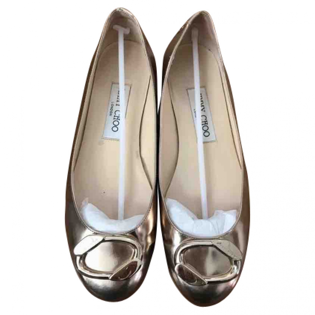 Jimmy Choo \N Gold Leather Ballet flats for Women 37 EU