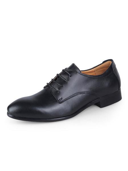 Milanoo Blue Dress Shoes Groom Shoes Cowhide Round Toe Lace Up Business Shoes