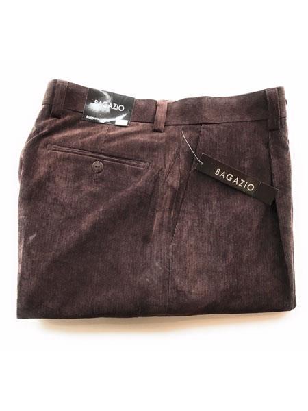 Bagazio Men's Mini Corduroy Single Pleated Pants Brown