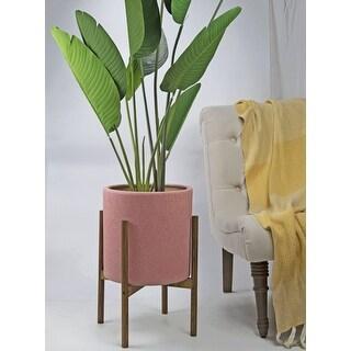 UPshining 13'' Extra Large Mid-Century Modern Ceramic Planter Pastel Pink With Wood Stands (Honey)