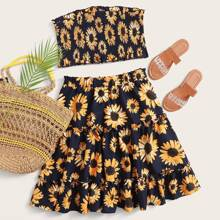 Plus Sunflower Print Shirred Tube Top and Layered Skirt Set