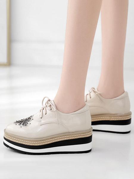 Milanoo Women Oxfords Round Toe PU Leather Lace Up Flatform Shoes