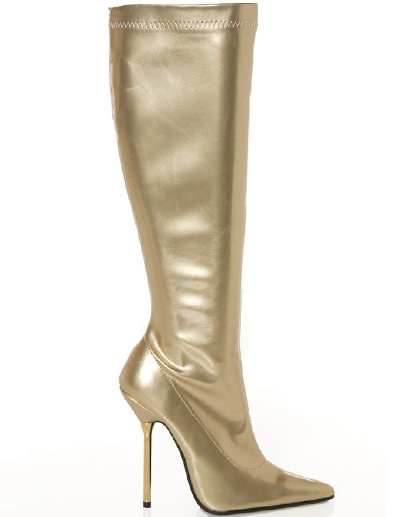 Milanoo 4 1/10 Heel Gold Patent Leather Womens Ankle Knee-High Boots