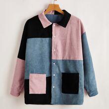 Cord Bluse mit Farbblock und einreihiger Knopfleiste
