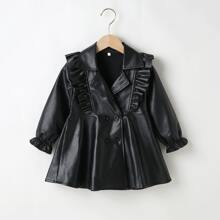 PU Leder Kleid mit zweireihigen Knopfen und Rueschenbesatz