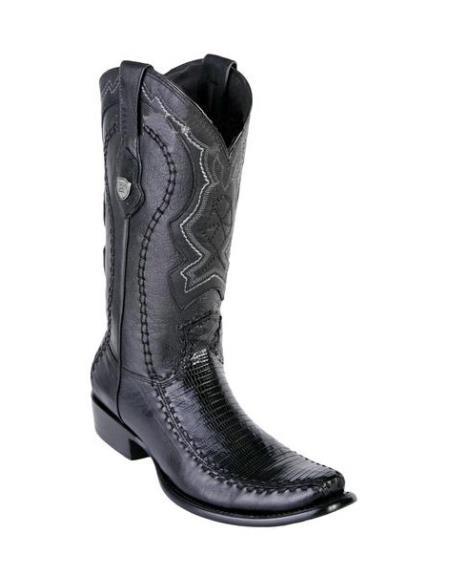 Men's Teju Lizard Deer Skin Black Wild West Toe Handmade Boots
