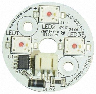 Intelligent LED Solutions ILS ILC-GD03-RED1-SD101, Dragon3 Coin Circular LED Array, 3 Red LED