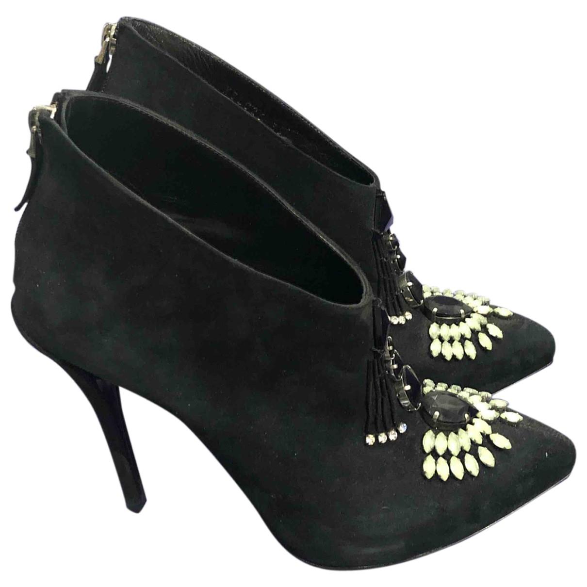 Emporio Armani - Boots   pour femme en suede - noir