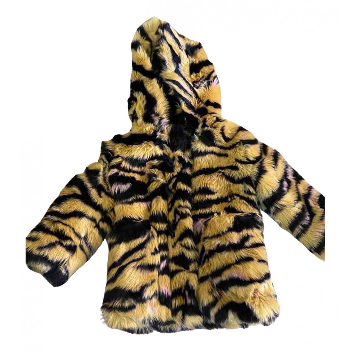 Kenzo - Blousons.Manteaux   pour enfant en fourrure synthetique - jaune