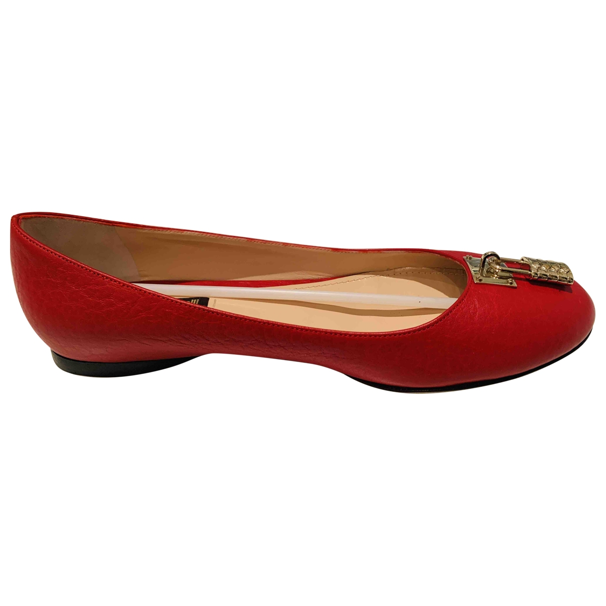 Roberto Cavalli \N Red Leather Flats for Women 38.5 EU
