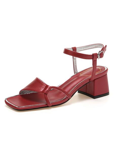 Milanoo Sandalias de gladiador Negro Cuero de PU Hebilla de punta abierta Tacon grueso Zapatos de mujer